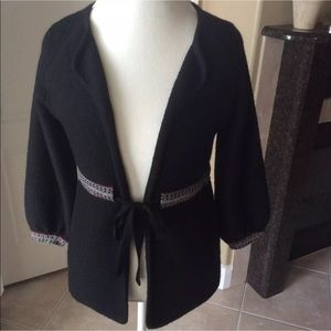 Zara Sweater Jacket | Black Wool Boho Braid Trim